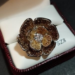 Tivoli Silver & Champagne CZ Flower Ring